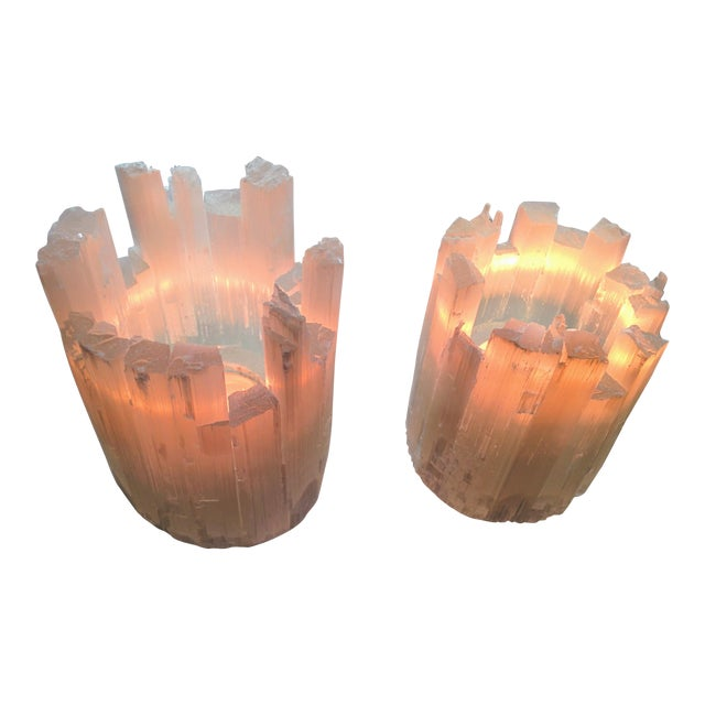 Pair of Selenite Moroccan Crystal Tealight Candle Holders - Image 1 of 9