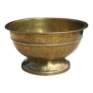 Antique Etched Brass Pedestal Bowl For Sale