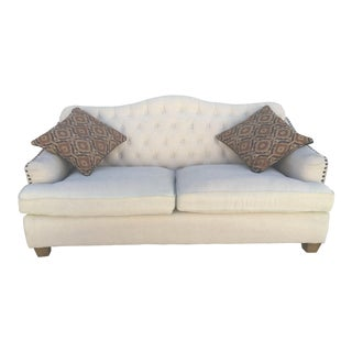 French Inspired Bardot Camelback Sofas With Tufted Fabric For Sale