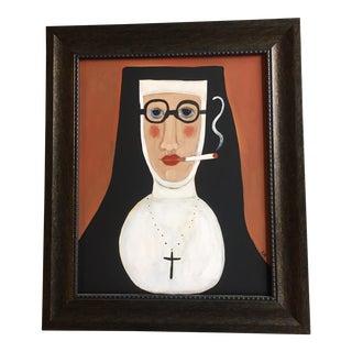 """Rose Walton Contemporary """"Smoking Nun"""" Painting"""