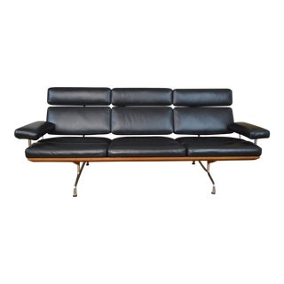 Charles & Ray Eames for Herman Miller Leather and Walnut Three Seat Sofa