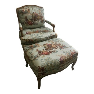 "Vintage Baker Provincial French Country ""Bergere"" Armchair & Ottoman For Sale"