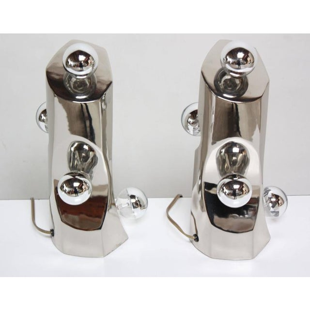 Mid-Century Modern Polished Chrome Free-Form Table Lamps - Image 7 of 11