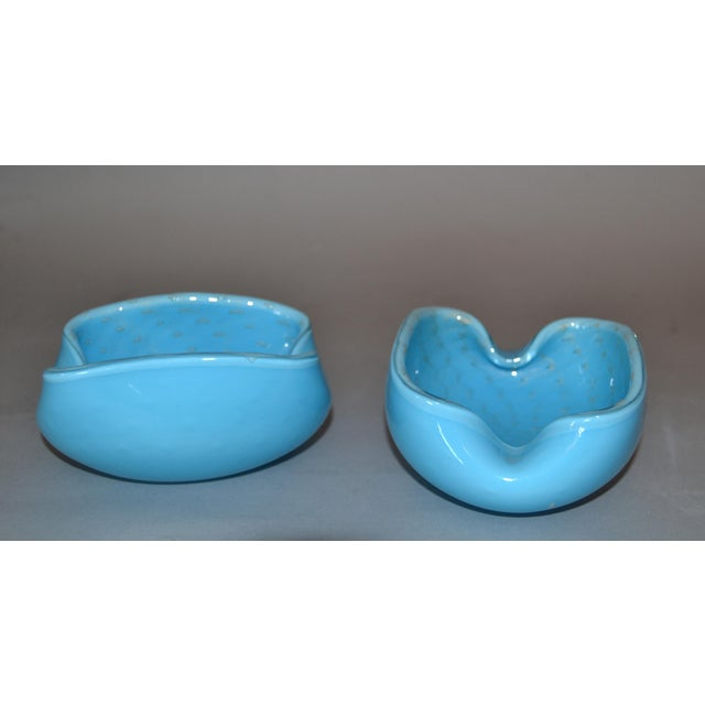 Murano Elegant Murano Glass Blue and Gold Flecks Bowls / Catchalls - a Pair For Sale - Image 4 of 12