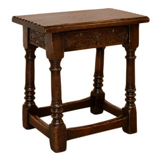 19th Century English Oak Joint Stool With Drawer For Sale