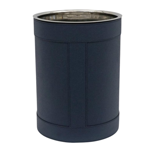 Hand-Stitched Navy Blue Leather Waste Paper Basket For Sale