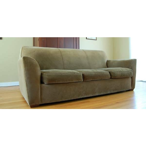 Crate & Barrel Olive Green Velvet Sofa Couch | Chairish