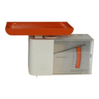 1960s Vintage Korex Calcuweightor Orange & White Kitchen Scale For Sale