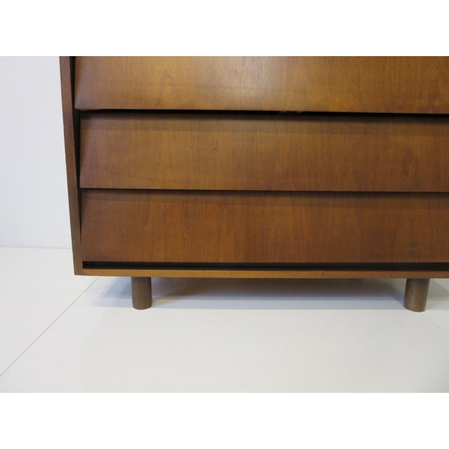 Mid 20th Century Mid Century Walnut Slanted Front 5 Drawer Dresser For Sale - Image 5 of 9