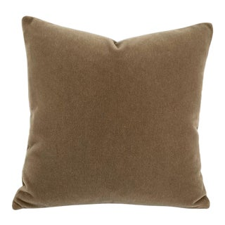 S. Harris Melrose Mohair Velvet in Brown Pillow Cover For Sale