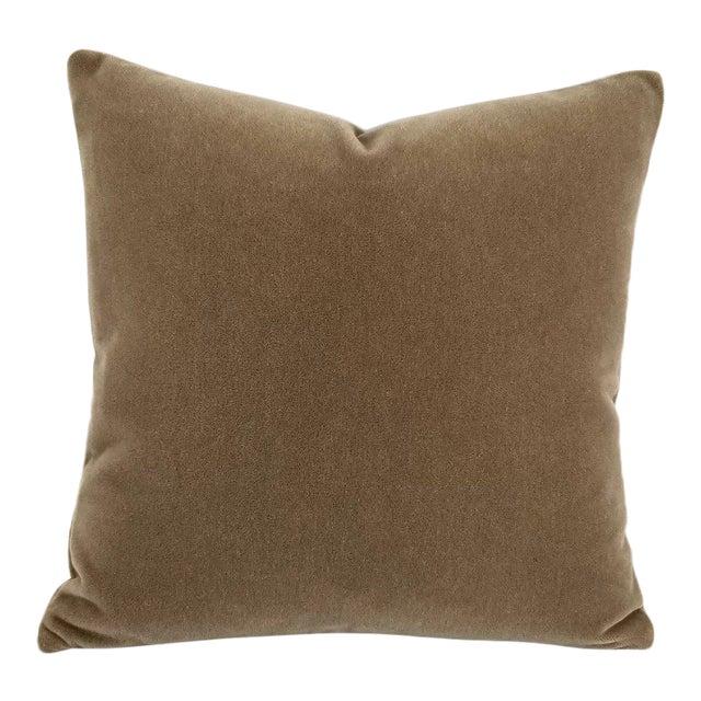 S. Harris Melrose Mohair Velvet in Brown Pillow Cover For Sale