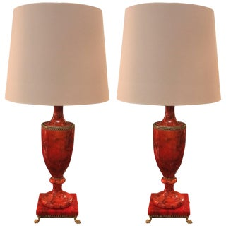 1950s Italian Red Polished Alabaster Urn Lamps - a Pair For Sale