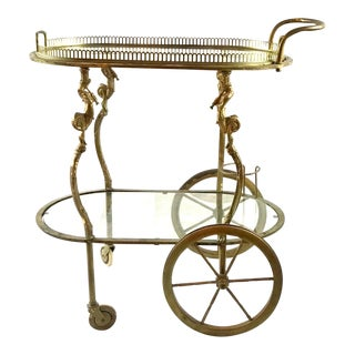 Mid Century Bronze Bar Cart For Sale
