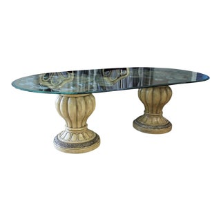 19th Century Italian Monumental Wood & Glass Dining Table For Sale
