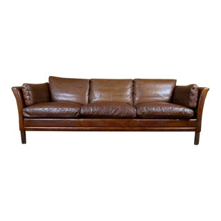 Vintage Stouby Mid Century Danish Modern Leather 3 Seat Sofa, Brown For Sale