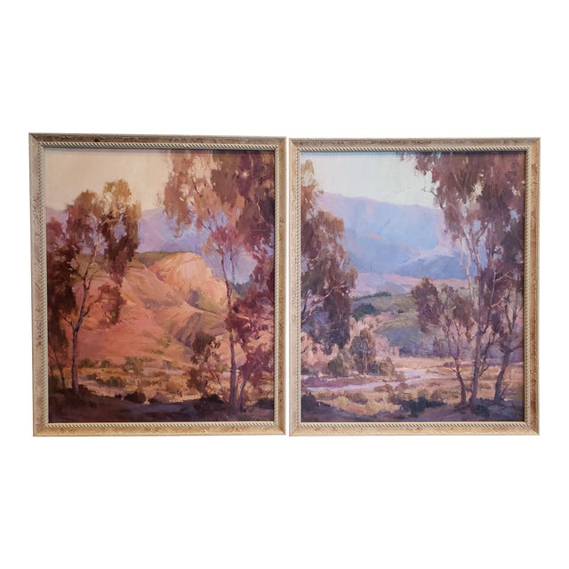 "Anita Hampton ""Sunrise"" and ""In Early Spring"" Landscape Paintings - a Pair For Sale"