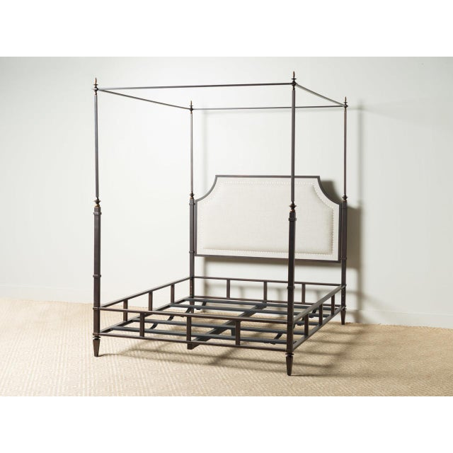 Marshall Iron & Linen Upholstered Queen Bedframe For Sale - Image 6 of 6