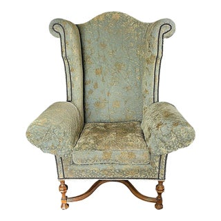 Huge Lee Jofa Victoria & William Wingback Damask Library Throne Chair For Sale