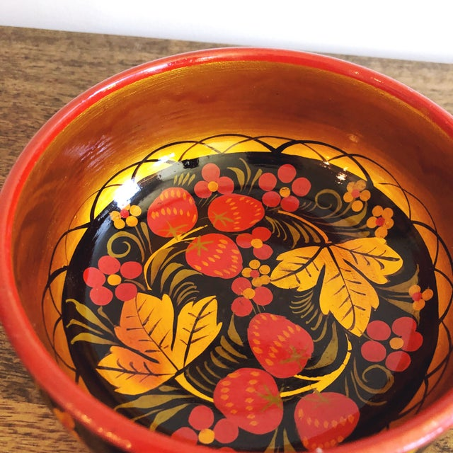 1980s Russian Lacquerware Painted Bowl For Sale - Image 5 of 8