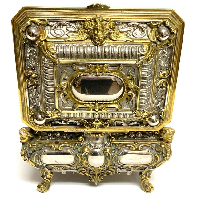 Silvered Bronze and Ormolu Jewelry/Table Box For Sale - Image 9 of 12