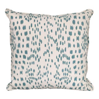 Hollywood Regency Brunschwig Les Touches Aqua and White Pillow For Sale