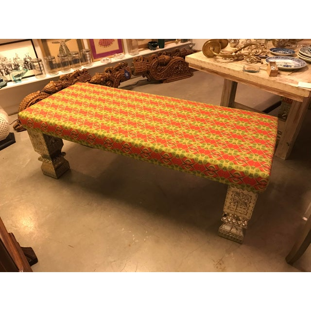 Custom Long Bench With Hand-Chased German Silver Legs and Custom Fabric For Sale - Image 9 of 9