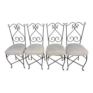 Vintage Wrought Iron Dining Chairs-Set of 4 For Sale