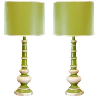 Pair of Vintage Ceramic Lamps in Lime and Cream For Sale