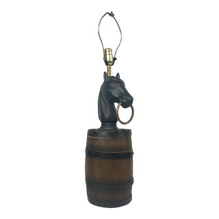 Vintage Cast Iron Horse Head on Wooden Keg Barrel Lamp Antique Hitching Post For Sale