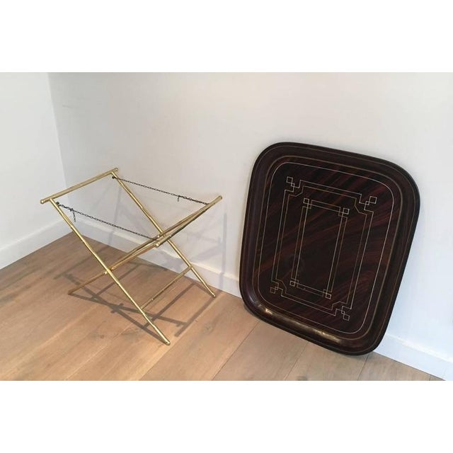 French Brass Tray Table with a Lacquer and Gold Metal Top For Sale In New York - Image 6 of 11