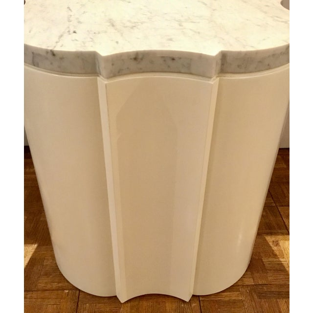 Modern White Marble Quatrefoil Side Tables Pair Prototypes For Sale - Image 4 of 5