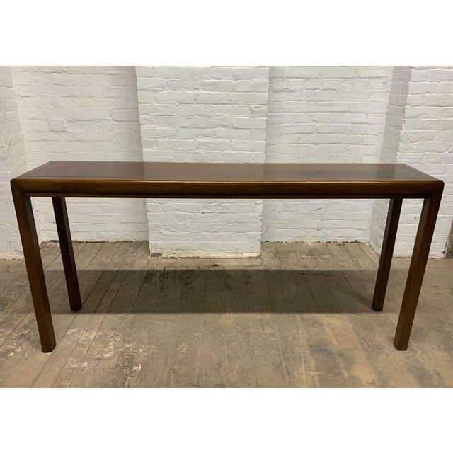 Walnut and Brass Inlay Console by Baker Furniture Company For Sale In New York - Image 6 of 6