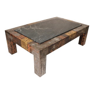 Paul Evans Brutalist Mixed Metals Patchwork Coffee Table With Exotic Slate Top For Sale