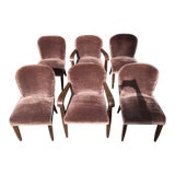 Image of 1930s Vintage Macassar and Mohair Dining Chairs - Set of 6 For Sale