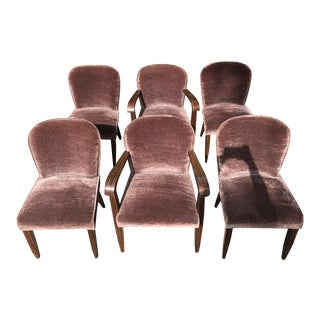 1930s Vintage Macassar and Mohair Dining Chairs - Set of 6 For Sale