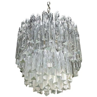 Venini Italian Triedi Crystal Prism Chandelier For Sale