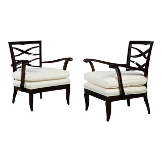 Ebonized Pair of French Lacquered Walnut Armchairs
