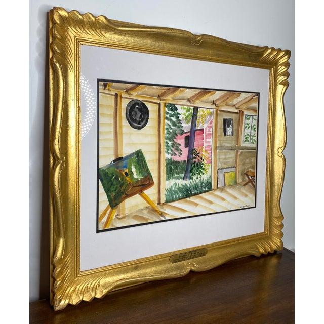 "A striking and brilliant large original watercolor tiltled ""Artist's Studio"" by Important artist, Joseph Pollet. Pollet, a..."