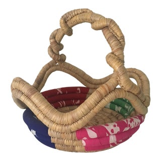 Vintage Twisted Handle Woven Basket