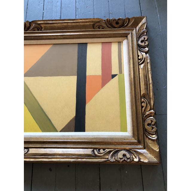 Abstract Mid Century Geometric Abstract Painting Ornate Frame For Sale - Image 3 of 5