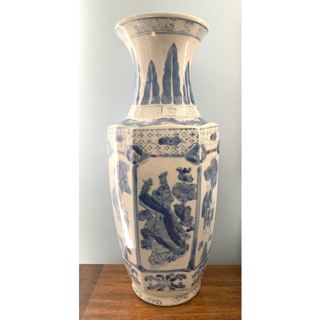 Chinoiserie Blue and White Ceramic Vase For Sale In Washington DC - Image 6 of 6