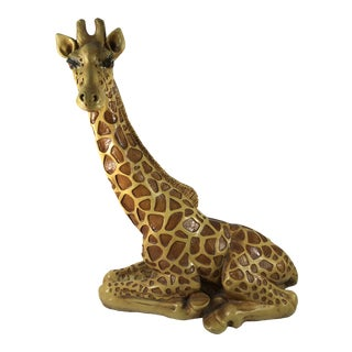 1970s Vintage Marwal Chalkware Giraffe Sculpture For Sale