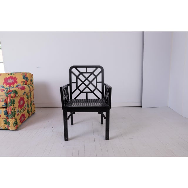 1980s Vintage Madcap Cottage Black Chinoiserie Fretwork Chairs-a Pair For Sale - Image 9 of 13