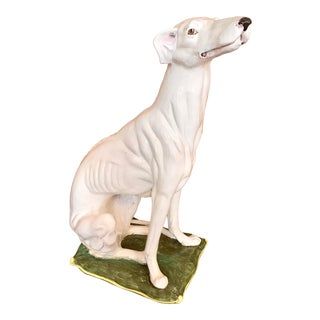 Italian Glazed Terra Cotta Life Size Statue of a Greyhound For Sale