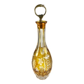 Late 20th Century Vintage Amber Crystal Decanter For Sale