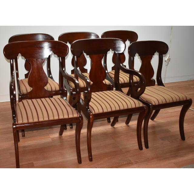 19th Century Antique Empire Solid Mahogany Dining Room Chairs- 6 Pieces