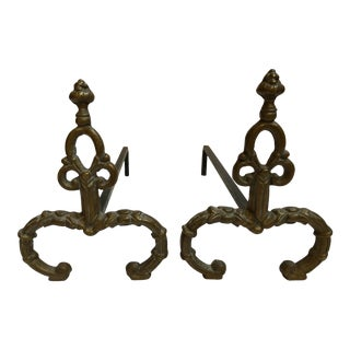 French Petite Brass Chenets - a Pair For Sale