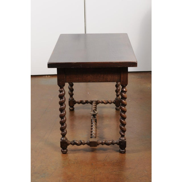 French French Walnut Louis XIII Style Desk with Barley Twist Base from the 19th Century For Sale - Image 3 of 13
