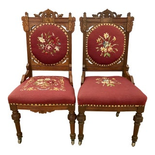 Antique Victorian 1870s Walnut Burl Needlepoint Chairs - a Pair For Sale