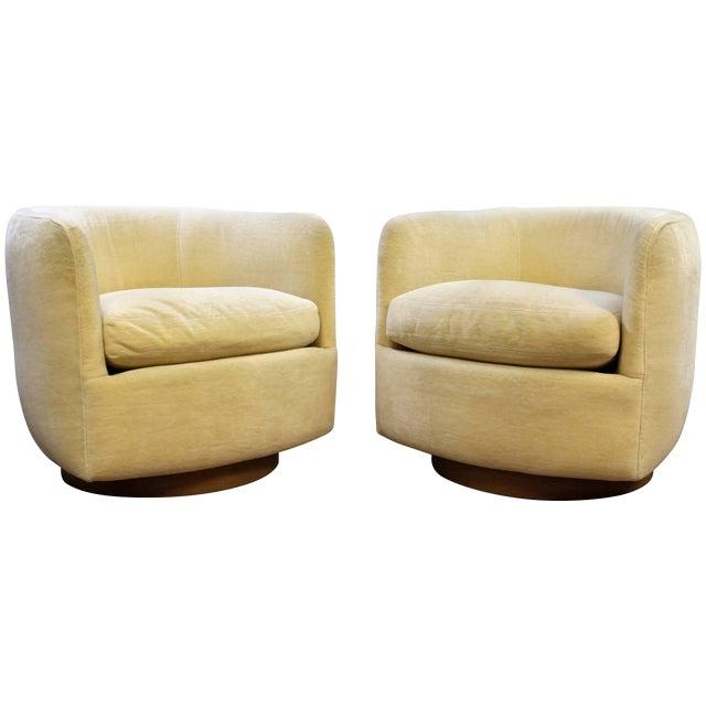 Mid-Century Modern Baughman Thayer Coggin Pair of Plinth Base Swivel Tub Chairs For Sale